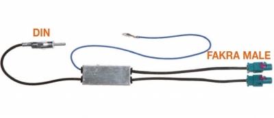 Adapter antenowy 2 FAKRA-DIN VW,Seat,Skoda,Audi