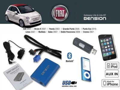 Cyfrowa zmieniarka Dension Bluetooth,USB,iPod,iPhone,AUX - Fiat,Alfa Romeo,Lancia