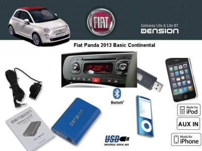 Cyfrowa zmieniarka Dension Bluetooth,USB,iPod,iPhone,AUX - Fiat Panda 2013 Basic Continental