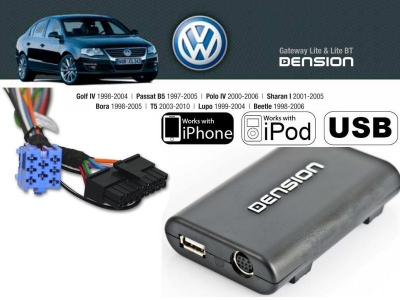 Cyfrowa zmieniarka Dension USB,iPod,iPhone,AUX - VW,Seat,Skoda 8 PIN
