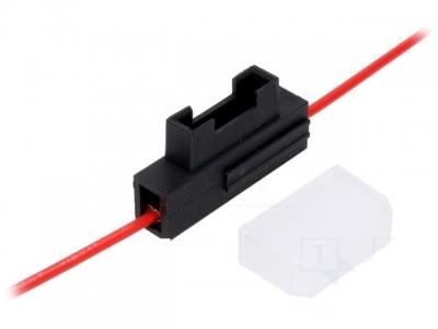 Oprawa bezpiecznika nożowego. Przewód 0,75mm2 czerwony