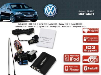 Dension Pro BT,AUX,USB,iPod,iPhone,ID3 - VW Skoda RCD310/510