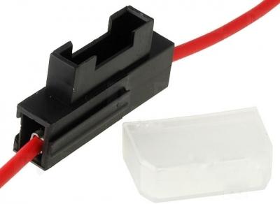 Oprawa bezpiecznika nożowego. Przewód 2,5mm2 czerwony