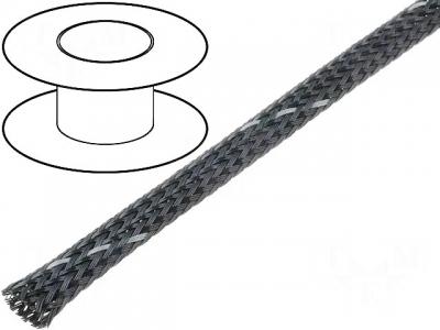 Oplot poliestrowy 5mm (4-9mm) czarny/szary pasek