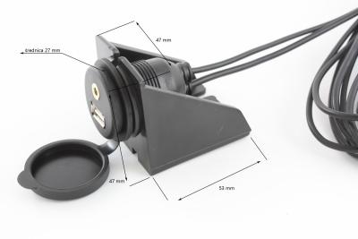 Gniazdo samochodowe AUX, USB z mocowaniem
