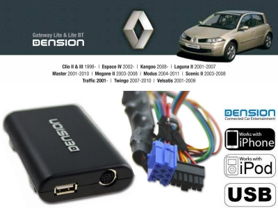 Cyfrowa zmieniarka Dension USB,iPod,iPhone,AUX - Renault SPDIF