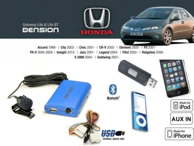 Cyfrowa zmieniarka Dension Bluetooth,USB,iPod,iPhone,AUX - Honda Civic,Accord,CR-V,Jazz