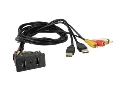 Gniazdo samochodowe USB / RCA> 2x USB / 1xAUX