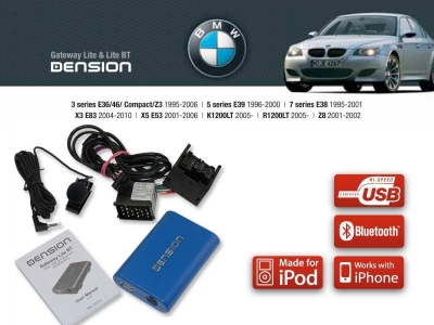 Cyfrowa zmieniarka Dension Bluetooth,USB,iPod,iPhone,AUX - BMW E46,E38,E39,X3,X5